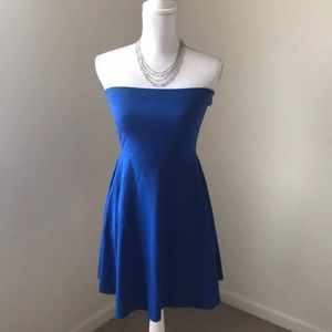 Express Strapless Blue Dress